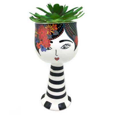Vaso Cachepô Mulher e Rosas - Preto e Branco