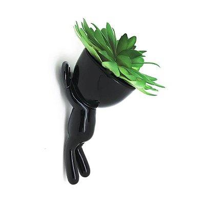 Vaso de Parede Cachepot Bob Homenzinho Preto MD1