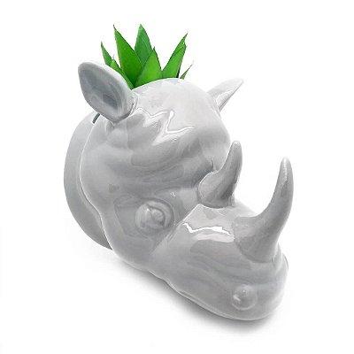 Vaso de Parede Cachepot Rinoceronte Cinza Porcelana