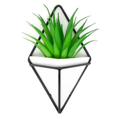 Vaso de Parede Triangular Branco e Preto - Suporte Aramado