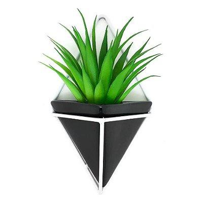 Vaso de Parede Triangular Preto e Branco - Suporte Aramado