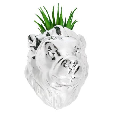Vaso de Parede Cachepot Leão Prateado Porcelana