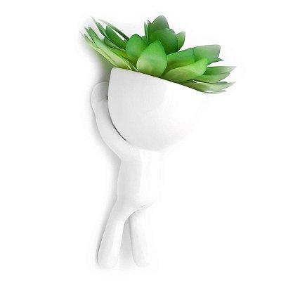Vaso de Parede Cachepot Bob Homenzinho Branco MD1