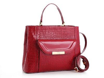 Bolsa em couro com 2 divisórias e bolsos externos