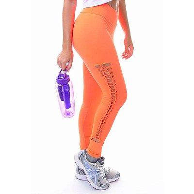 Calça Legging Fitness de Lateral Trançada Laranja Neon - UP Fitwear