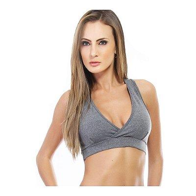 Top Fitness Mescla Sem Bojo Com Decote Transpassado Suplex Poliéster - Carioca Fit