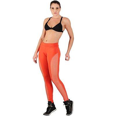 Calça Legging Fitness Lisa com Recorte em Tule - Yup Fitness