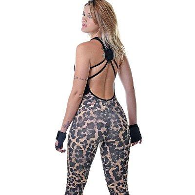 Macacão Aranha Preto Estampado Fitness Feminino - UP Fitwear