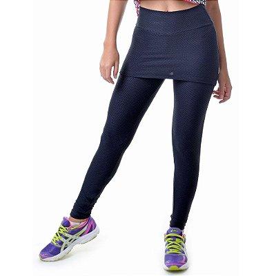 Calça Legging Fitness Texturizada com Saia Preta - UP Fitwear