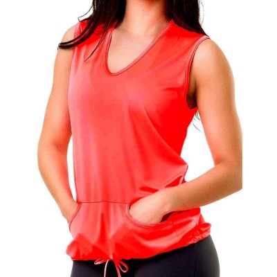 Colete Fitness Feminino Babi Rossi com Bolso Coral Fluor - Elite Fitness