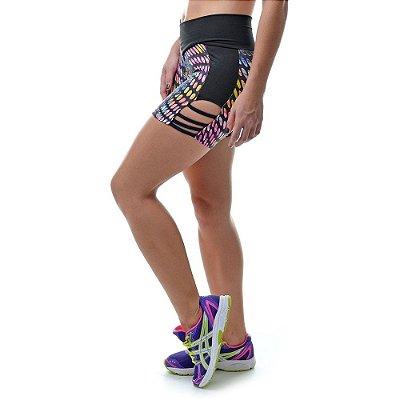 Short Fitness com Tiras Laterais Preto - UP Fitwear
