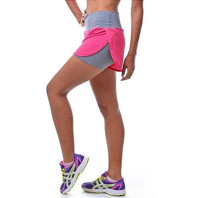 Short Duplo Fitness Corredor Mescla com Tela Rosa - UP Fitwear