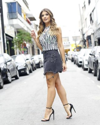 Saia Jeans Glam ( Black e Off)