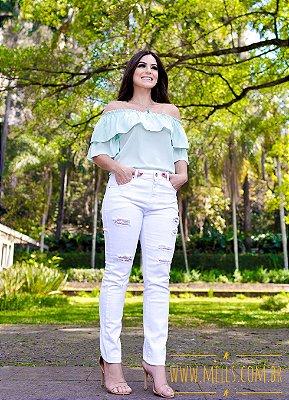 Calça Jeans Destroyed Branca