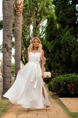 Vestido Glam (Branco e Salmão)