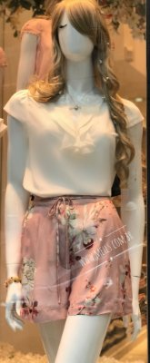 Shorts Flowers Rosê