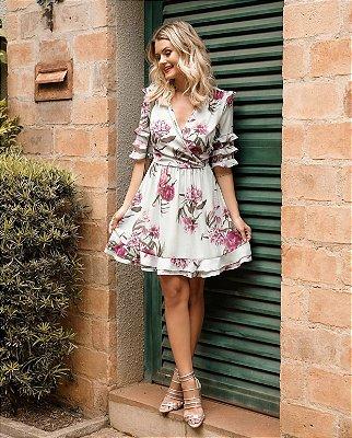 Vestido Crepe Florido Adrielli