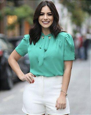 Blusa Liana ( Verde Esmeralda,Marinho, Branca e Rosê)