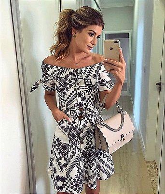 Vestido Linho Estampado - Ariane