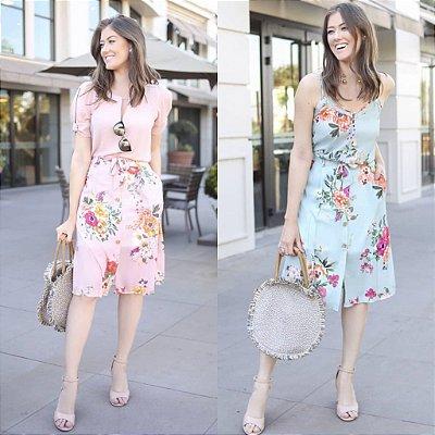 Saia Midi Floral ( Mint e Rosa)