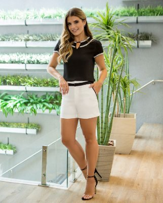 Shorts Alfaiataria Bicolor