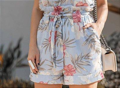 Shorts Floral - Rafaela (Rosa e Azul)