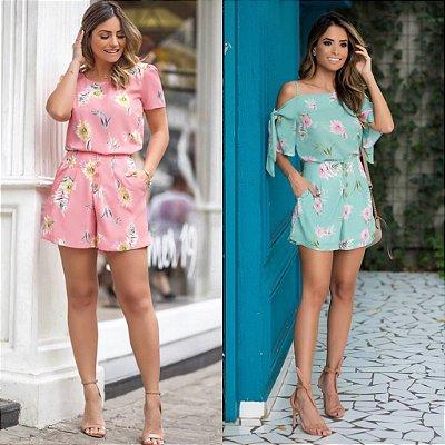 Shorts Crepe Floral - Paloma ( Rosa e Verde)