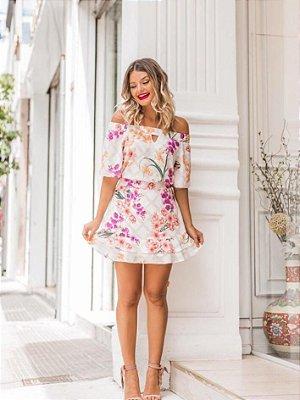 Blusa Ombro a Ombro Floral  - ROSÊ