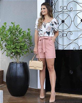 Shorts de Linho com Faixa Rosê