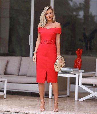 Vestido Alfaiataria Cinto ( Vermelho e Off)