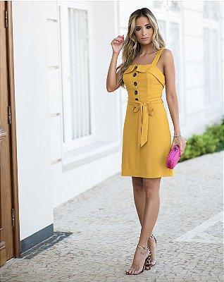 Vestido Visco Botões - Mostarda