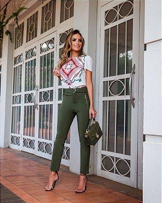 Calça Skinny Sarja - Verde