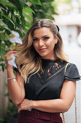 Blusa Crepe Renda - Gabriela (Cores)