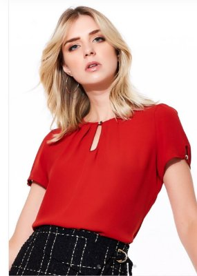 Blusa Crepe Basic Red