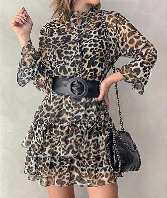 Vestido Onça - Esmeral ( não acompanha o cinto)