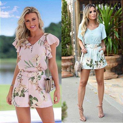 Shorts Floral com Cinto ( Rosê e Mint)