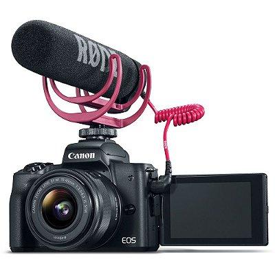 Câmera Canon EOS M50 Mirrorless Kit com Lente EF-M 15-45mm f/3.5-6.3 IS STM + Rode VideoMic GO