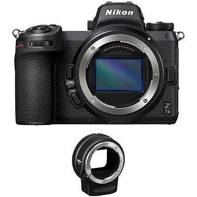 Câmera Nikon Z 7II Mirrorless Corpo com adaptador de encaixe Nikon FTZ Mount Adapter