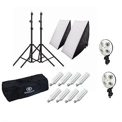 Kit iluminação PK-SB01-LED 110V com  02 tripés, 02 Suportes, 02 Softbox 50x70cm, 08 lâmpadas e 01 Bolsa