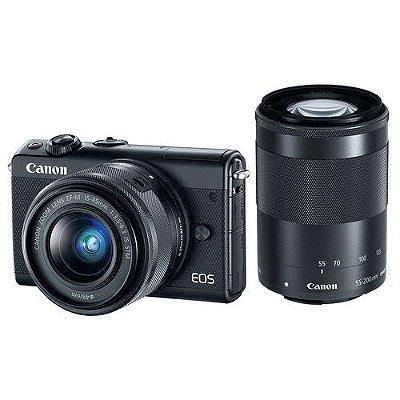 Câmera Canon EOS M100 PREMIUM KIT com Lentes 18-55mm e 55-250mm IS STM