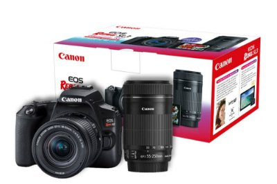 Câmera Canon EOS Rebel SL3 Premium Kit com Lentes 18-55mm + 55-250mm IS