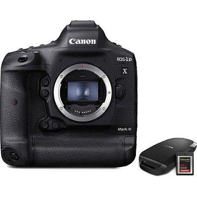 Câmera Canon EOS-1D X Mark III Corpo com Memória 64GB e Leitor CFexpress