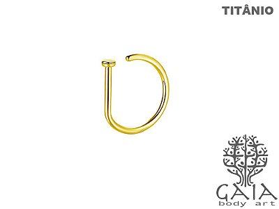 Argola Titânio D-Ring Dourada
