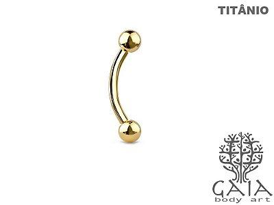 Micro Barbell Curvo Esferas Titânio Dourado