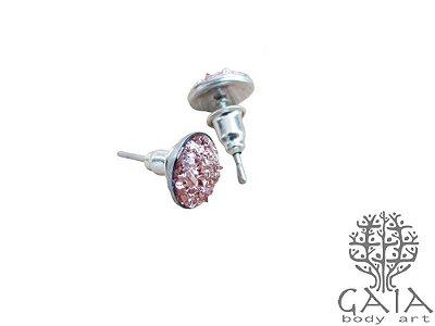 Brincos Aço Cirúrgico Glow Rosa Antigo