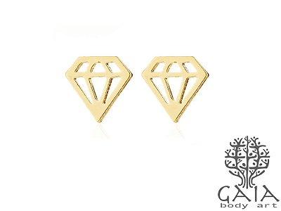 Brincos Aço Cirúrgico Diamante Dourado