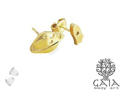 Brincos Aço Cirúrgico Foguete Espacial Dourado