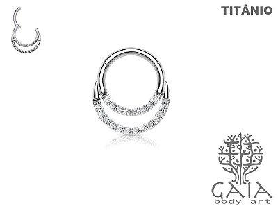 Argola Articulada Titânio Dupla com Zircônias Tiffany