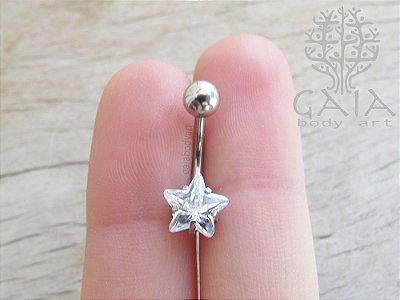 Piercing de Umbigo Aço Zircônia Estrela