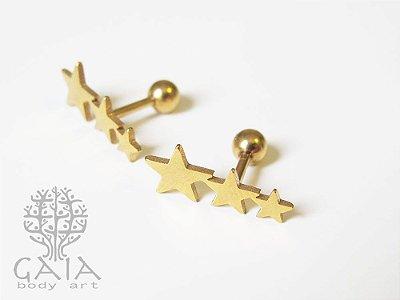 Barbell Trio de Estrelas Anodizado Dourado